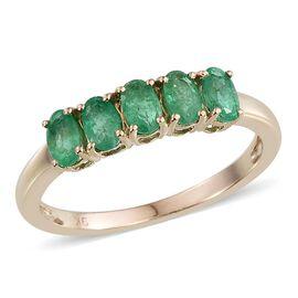 9K Y Gold Boyaca Colombian Emerald (Ovl) 5 Stone Ring 1.000 Ct.