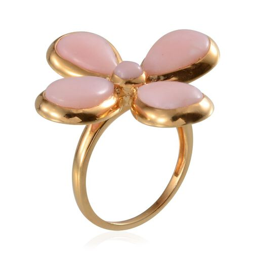 Peruvian Pink Opal (Pear) Floral Ring in 14K Gold Overlay Sterling Silver 9.000 Ct.