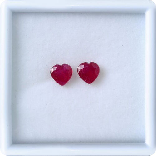 African Ruby Set of 2 (Hrt 7 mm Faceted 3A) 3.02 Ct.