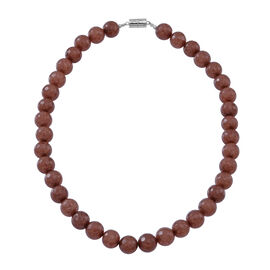 Rare Size Chocolate Agate Beads Necklace with Magnetic Clasp Lock (Size 18) in Rhodium Plated Sterling Silver 450.000 Ct.
