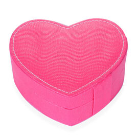 Rose Red Heart Shape Jewellery Box with Mirror Inside (Size 12.5x10x5 Cm)