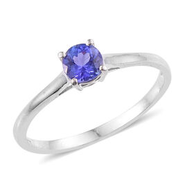 Tanzanite (Rnd) Solitaire Ring in Platinum Overlay Sterling Silver 0.500 Ct.
