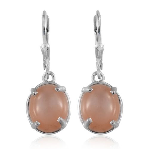 Mitiyagoda Peach Moonstone (Ovl) Earrings in Platinum Overlay Sterling Silver 8.750 Ct.