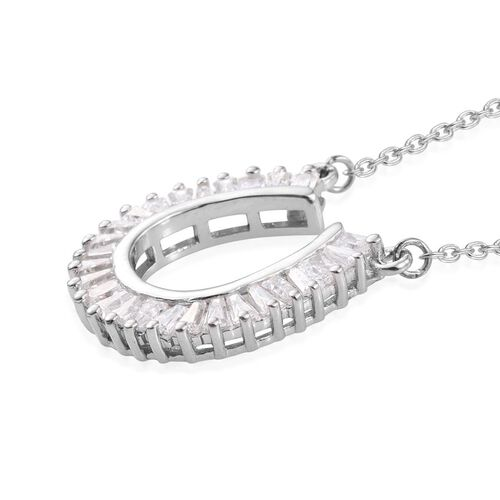 J Francis - Platinum Overlay Sterling Silver (Bgt) Pendant With Chain Made with SWAROVSKI ZIRCONIA
