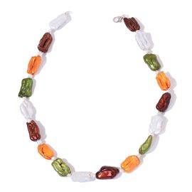 Designer Inspired Hand Crafted Fresh Water Multi Colour Pearl (10-16 mm) Necklace (Size 18) in Rhodium Plated Sterling Silver