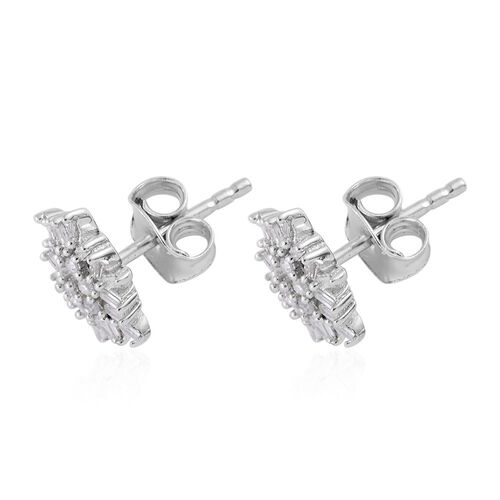 Diamond (Rnd) Starburst Stud Earrings (with Push Back) in Platinum Overlay Sterling Silver 0.330 Ct.