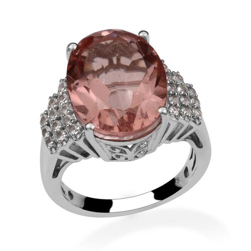 Morganite Colour Quartz (Ovl 9.75 Ct), White Topaz Ring in Platinum Overlay Sterling Silver 10.150 Ct.