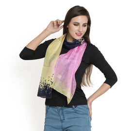 100% Mulberry Silk Pink, Dark Blue and Multi Colour Hand Screen Printed Scarf (Size 180x50 Cm)