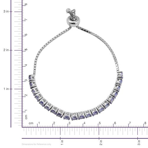 Tanzanite (Rnd) Adjustable Bracelet (Size 6-9)  in Platinum Overlay Sterling Silver 4.500 Ct.