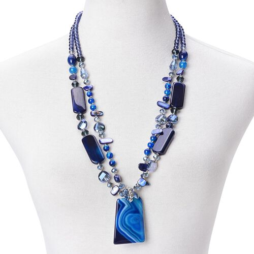 Blue Agate, Simulated Blue Sapphire, Blue Shell and Simulated Grey Moonstone Dual Strand Beads Necklace (Size 29) in Silver Tone 730.00 Ct.