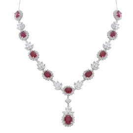 African Ruby (Ovl 4.92 Ct), White Topaz Necklace (Size 18) in Rhodium Plated Sterling Silver 50.000 Ct.
