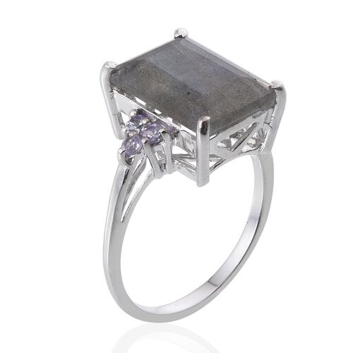 Labradorite (Oct 6.00 Ct), Tanzanite Ring in Platinum Overlay Sterling Silver 6.250 Ct.