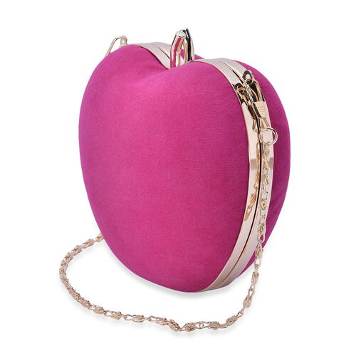 Amour Velvet Apple Clutch With Removable Golden Chain (Size 58x13x12.5 Cm)