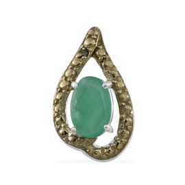 Kagem Zambian Emerald (Ovl 0.50 Ct), Green Diamond Pendant in Sterling Silver 0.550 Ct.