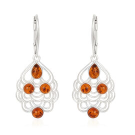 (Option 2) Amber Lever Back Earrings in Rhodium Plated Sterling Silver 2.000 Ct.