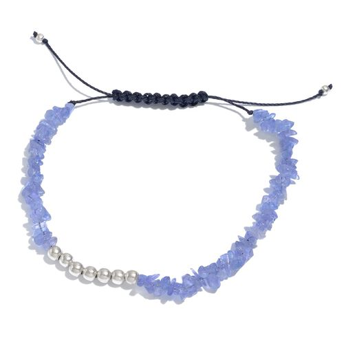Tanzanite Adjustable Bracelet (Size 7.5) in Platinum Overlay Sterling Silver 23.800 Ct.