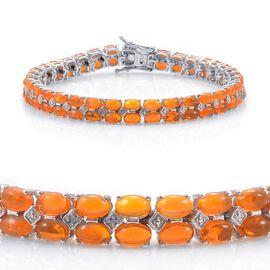 Orange Ethiopian Opal (Ovl), Diamond Bracelet in Platinum Overlay Sterling Silver (Size 7.5) 10.010 Ct.