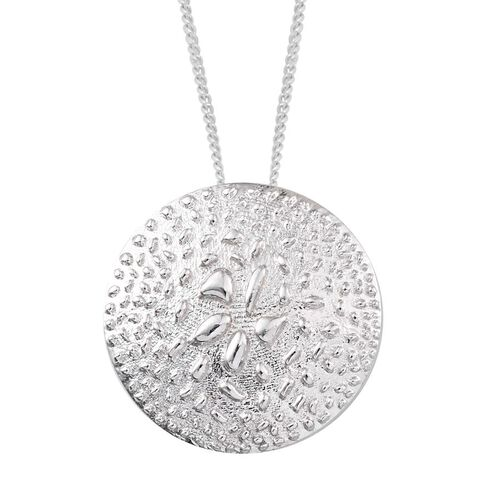 Platinum Overlay Sterling Silver Rocky Shores Pendant With Chain, Silver wt 4.58 Gms.