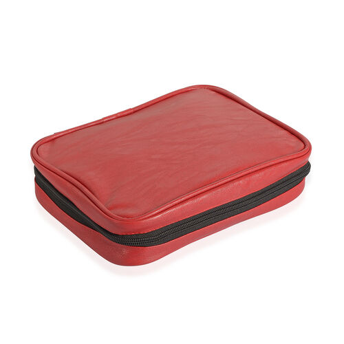 Red Colour Travelling Jewellery Bag (Size 25x20x6 Cm) with 5 Transparant Zipper Pouch (Size 19x15 Cm)