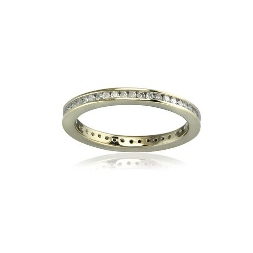 9K Yellow Gold SGL Certified Diamond (Rnd) Full Eternity Band Ring 0.500 Ct.