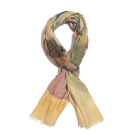 Brown and Multi Colour Wolf Scarf (Size 200x100 Cm)