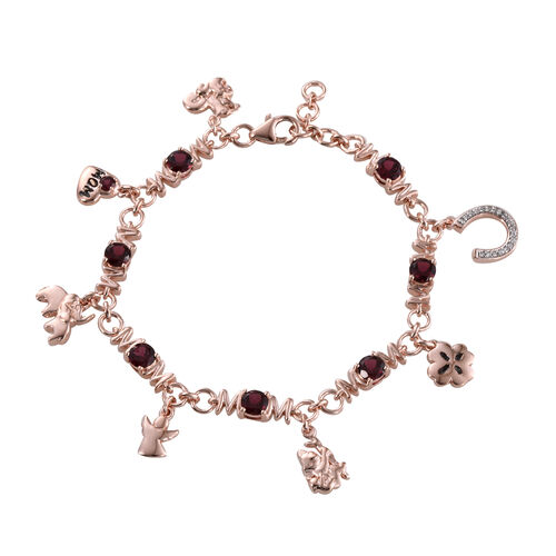 JCK Vegas Collection Rhodolite Garnet (Rnd), Natural Cambodian Zircon Multi Charm Bracelet (Size 7) in Rose Gold Overlay Sterling Silver 4.103 Ct.