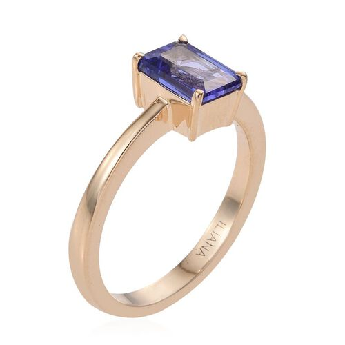 ILIANA 18K Yellow Gold 1.60 Carat AAA Tanzanite Octagon Solitaire Ring.