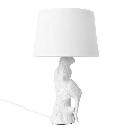 Home Decor - Ceramic White Colour Parrot Shape Table Lamp (Size 49x30x12 Cm)