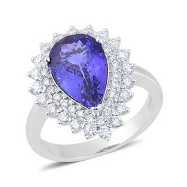 ILIANA 18K White Gold AAA Tanzanite (Pear 3.75 Ct), Diamond SI G-H Ring 4.50 Carat.