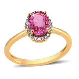 ILIANA 18K Y Gold Pink Sapphire (Ovl 1.37 Ct), Diamond Ring 1.500 Ct.