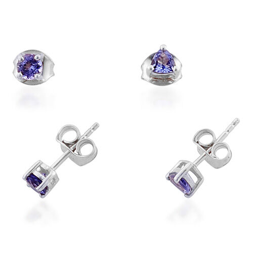 AA Tanzanite (1.00 Ct) Platinum Overlay Sterling Silver Triliian and Round  2 Pair Earring Set