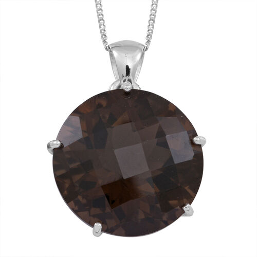Brazilian Smoky Quartz (Rnd) Pendant With Chain in Rhodium Plated Sterling Silver 21.000 Ct.
