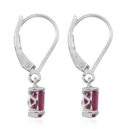 African Ruby (Ovl) Lever Back Earrings in Rhodium Plated Sterling Silver 2.250 Ct.