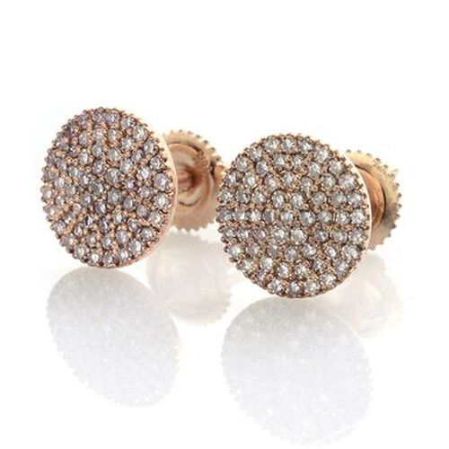 ILIANA 18K Rose Gold Natural Pink Diamond (Rnd) (SI/H-I) Stud Earrings (with Screw Back) 0.500 Ct.