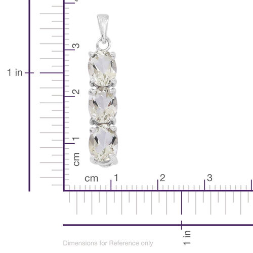 Green Amethyst (Ovl) Trilogy Pendant in Rhodium Plated Sterling Silver 3.500 Ct.