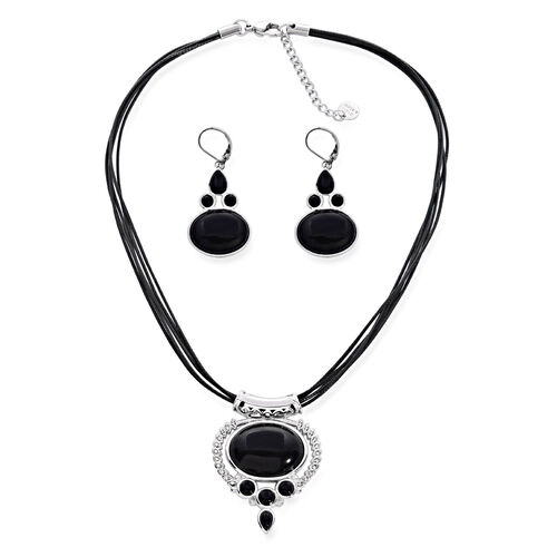 Black Onyx and White Austrian Crystal Necklace (Size 16.5) and Lever Back Earrings in Stainless Steel