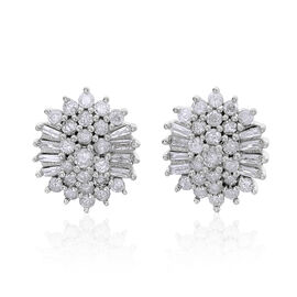 9K White Gold 1 Carat Diamond Stud Earrings SGL Certified I3 G-H.