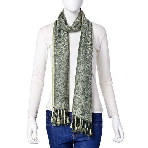 Light Green and Grey Colour Paisley Pattern Scarf with Tassels (Size 180X65 Cm)