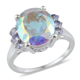Mercury Mystic Topaz (Ovl 8.50 Ct), Tanzanite Ring in Platinum Overlay Sterling Silver 9.000 Ct.