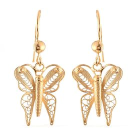 Yellow Gold Overlay Sterling Silver Butterfly Hook Earrings