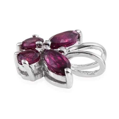 Rare Mozambique Grape Colour Garnet (Mrq) Butterfly Pendant in Platinum Overlay Sterling Silver 0.750 Ct.