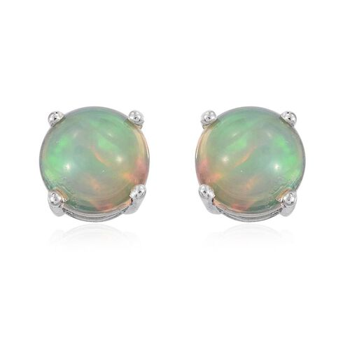 Ethiopian Welo Opal (Rnd) Stud Earrings (with Push Back) in Platinum Overlay Sterling Silver 2.000 Ct.