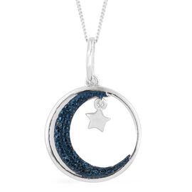 Blue Diamond (Rnd) Moon and Star Pendant With Chain in Platinum Overlay Sterling Silver