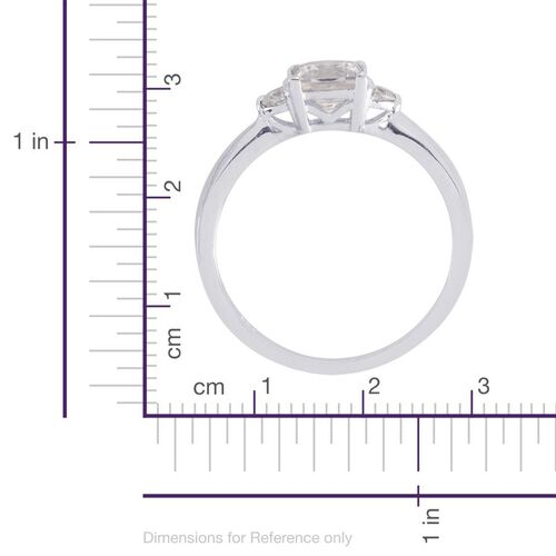 J Francis - Platinum Overlay Sterling Silver (Sqr) Ring Made with SWAROVSKI ZIRCONIA  1.480 Ct.