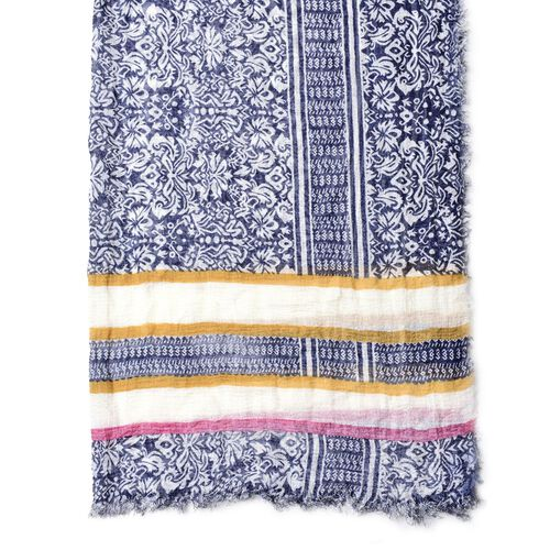Blue, White and Multi Colour Floral and Stripes Pattern Scarf with Fringes (Size 180X90 Cm)