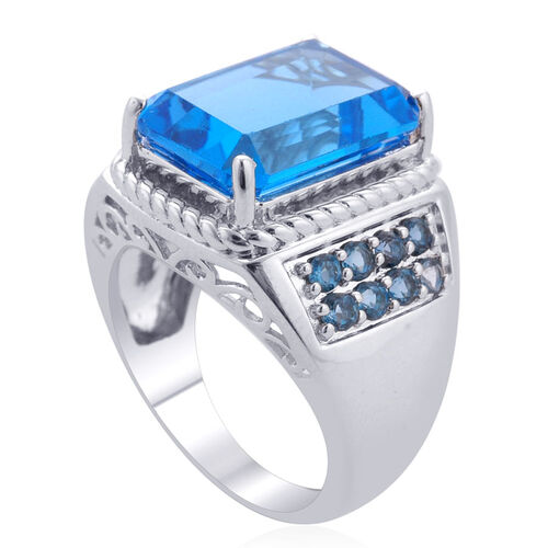 Electric Swiss Blue Topaz (Oct 9.56 Ct), London Blue Topaz Ring in Platinum Overlay Sterling Silver 10.104 Ct.