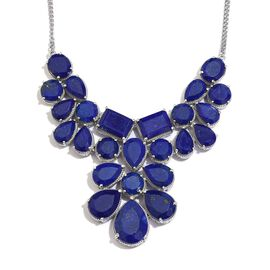 Lapis Lazuli (Pear) Necklace (Size 18) in Platinum Overlay Sterling Silver 124.250 Ct.