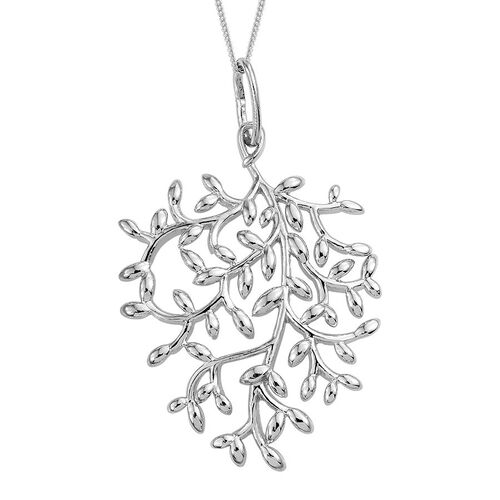 Platinum Overlay Sterling Silver Olive Leaves Pendant With Chain, Silver wt 6.09 Gms.