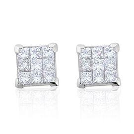 RHAPSODY 950 Platinum IGI Certified Diamond (Sqr) (VVS-SI/E-F) Stud Earrings (with Screw Back) 1.000 Ct.