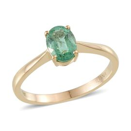 ILIANA 18K Y Gold Boyaca Colombian Emerald (Ovl) Solitaire Ring 1.100 Ct.
